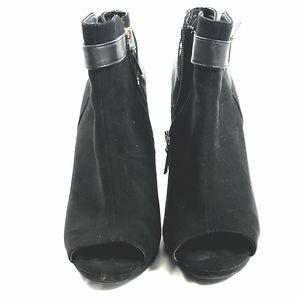 SAM & LIBBY Women's Booties Black Peep Toe Heels